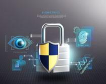 商务安全科技锁PSD素材