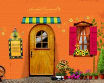 色彩墙壁阳光室外风格PSD素材