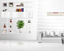 客厅简约装修风格设计PSD素材
