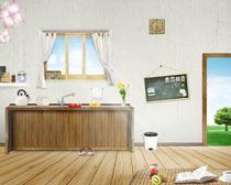 家庭木板厨房装修风格PSD素材