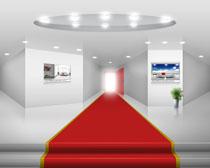 室内展厅布置设计风格PSD素材