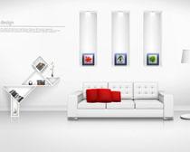 客厅沙发装修壁画设计PSD素材