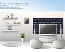 卧室白色装修风格设计PSD素材