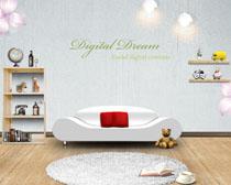 沙发摆放架地板装修风格PSD素材