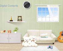 韩国可爱儿童室内装修风格PSD素材