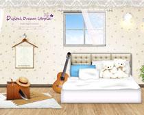 可爱的儿童房间装修风PSD素材