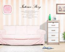 卧室沙发家具布置摄影PSD素材