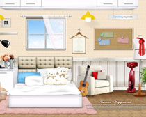 韩国卧室家庭装修风格PSD素材