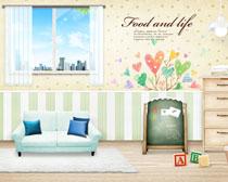 卡通韩国家庭装修风格设计PSD素材