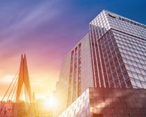 创新城市办公大厦建筑PSD素材