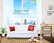 室内沙发书桌家居设计PSD素材