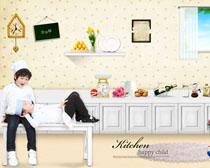 厨房装修风格与小孩PSD素材