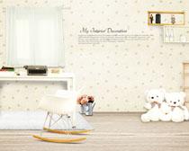 儿童书桌装修布置设计PSD素材
