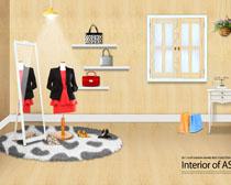 韩国家庭室内卧室设计PSD素材
