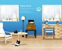 简约家庭室内家具展示PSD素材
