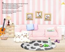 可爱粉色室内风格设计PSD素材