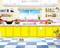 韩式厨房布置设计PSD素材