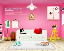 卧室红色墙纸家具布置PSD素材