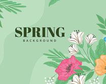 春天服装花朵背景广告矢量素材