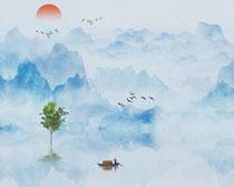 山水中国风水彩画PSD素材
