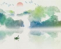 水墨色彩山水风艺术画PSD素材