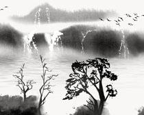 中国风艺术山水画PSD素材