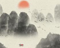 日出山峰景观绘画PSD素材