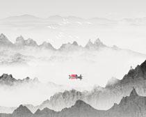 中国风景山川湖泊绘画PSD素材