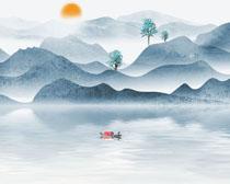 湖水艺术风山水画PSD素材