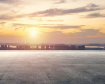 夕阳风光城市景观PSD素材