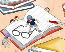 书本眼镜卡通儿童PSD素材