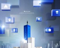 商务图标人物科技背景PSD素材