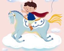 儿童梦想飞马卡通绘画PSD素材
