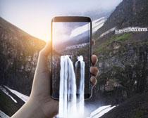 数码手机瀑布风景通信PSD素材