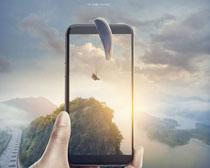 手机拍照风景景观PSD素材