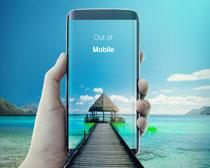 手机中的风景拍照PSD素材