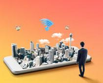 手机城市创意广告PSD素材