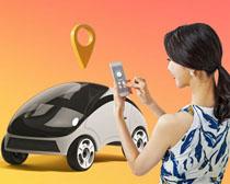 科技电动汽车与女性PSD素材