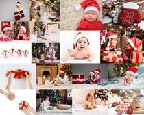 圣誕節可愛寶寶與禮物拍攝高清圖片