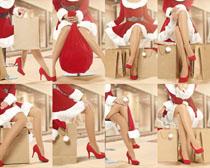 圣诞服装长腿美女摄影高清图片