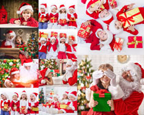 快乐小朋友过圣诞摄影高清图片