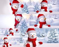 圣誕節雪人風景畫拍攝高清圖片