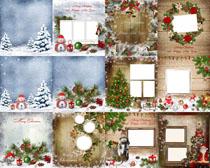 圣誕節相框雪花背景拍攝高清圖片
