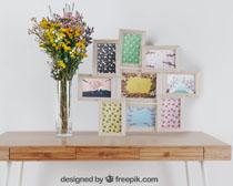 美麗鮮花與相框裝扮PSD素材