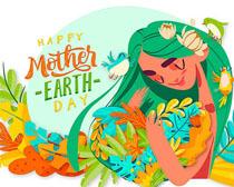 女孩爱护环境保护绘画矢量素材