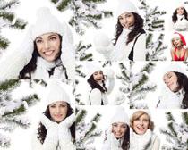圣诞雪景女人写真拍摄高清图片