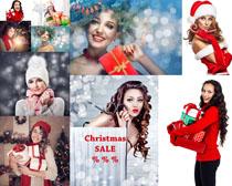 圣诞节开心美女与礼物摄影高清图片