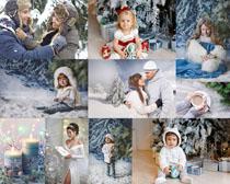 甜蜜家庭人物圣誕節攝影高清圖片