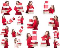 开心圣诞美女与礼物摄影高清图片