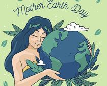 女孩爱护地球插画矢量素材